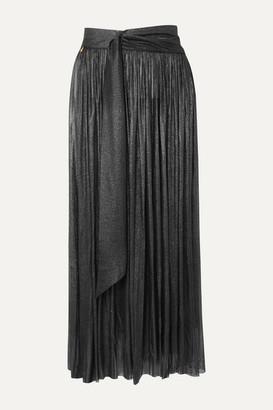 ELENA MAKRI Delfis Asymmetric Pleated Metallic Silk-tulle Midi Skirt - Silver