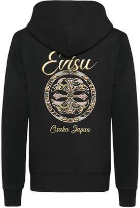Evisu Hooded Sweatshirt With Scale-patterned Kamon Embroidery