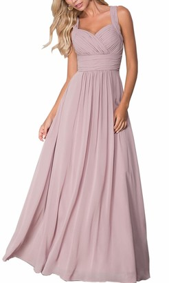 Roiii Women's Chiffon Maxi Party Long Wedding Cocktail Homecoming Formal Dresses Evening Prom Evening Gown Plus Size 8-24 (14-16