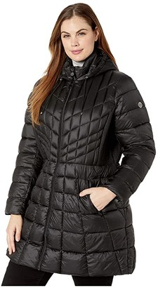 Bernardo Fashions Plus Size EcoPlume Bib Hooded Walker Puffer Coat (Black) Women's Jacket