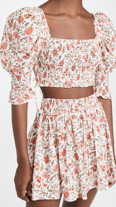 Playa Lucila Puff Sleeve Floral Top
