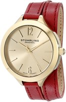 Stuhrling Original Women's 568.02 Leisure Soiree Deauville Sport Swiss Quartz Red Leather Wrap-Around Strap Watch