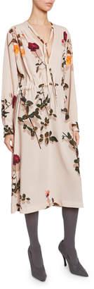 Dries Van Noten Flower-Print Long-Sleeve V-Neck Dress