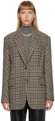 DRAE Brown Wool Check Blazer