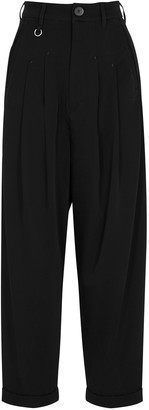 High Hasten black tapered-leg trousers