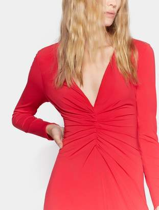 Halston LONG SLEEVE RUCHED FRONT GOWN