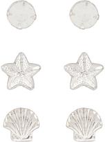 Accessorize Sterling Silver 3x Seaside Stud Earrings Set