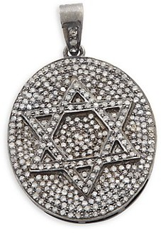 Artisan 925 Sterling Silver Diamond Star of David Pendant