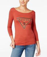 GUESS Three-Quarter-Sleeve Logo T-Shirt