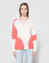 Rachel Comey Mo V Neck in Ivory/Coral