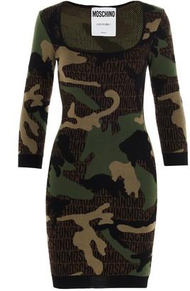 Moschino Camouflage Logo Knit Dress