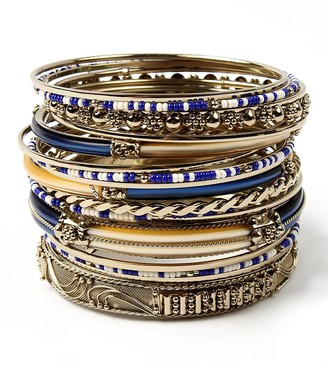 Amrita Singh Women's Bracelets Blue/Ivory - Blue & Cream Monte Carlo Bangle Set