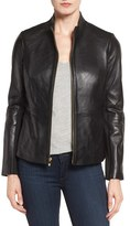 Via Spiga Women's Lambskin Leather Scuba Jacket
