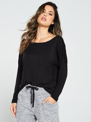 Pour Moi? Pour Moi Sofa Love Cross Strapped Long Sleeve Pyjama Top - Black