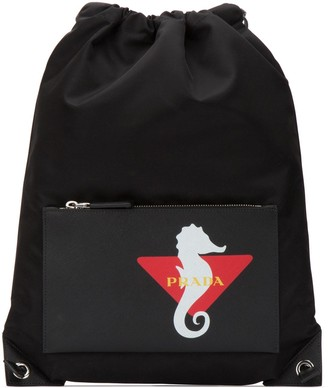 Prada Logo Drawstring Backpack