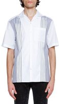Lanvin Cotton Bowling Shirt with Grosgrain Stripes, White
