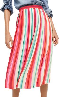 J.Crew Watermelon Stripe Pleat Skirt