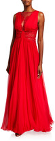ZUHAIR MURAD Kenpu Lace-Trim Pleated-Chiffon Gown