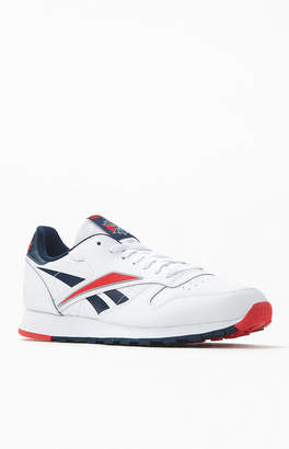 Reebok White Red & Navy Classic Leather Shoes