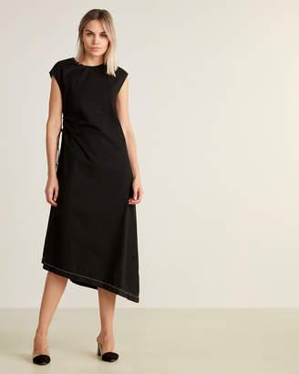 Hache Black Asymmetrical Hem Midi Dress