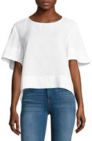 Lord & Taylor Linen Flutter Sleeve Tee