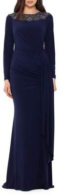 Xscape Evenings Embellished Long-Sleeve Gown