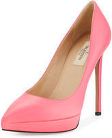 Valentino Leather Pointed-Toe Platform Pump, Neon Pink