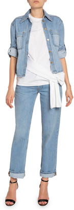 Victoria Victoria Beckham Cropped Roll-Sleeve Denim Jacket