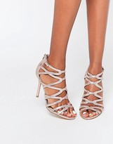 Head Over Heels By Dune Meemi Gold Lurex Caged Heeled Sandals