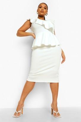 boohoo Plus Occasion Ruffle Peplum Midi Dress