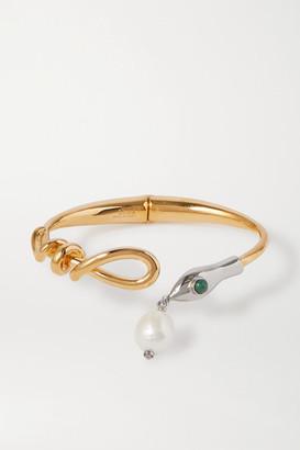 Chloé Gold-tone, Silver-tone, Pearl And Enamel Bangle