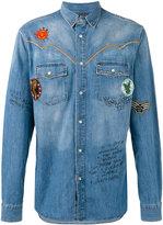 Just Cavalli patch detail denim shirt - men - Cotton/Aluminium - 50