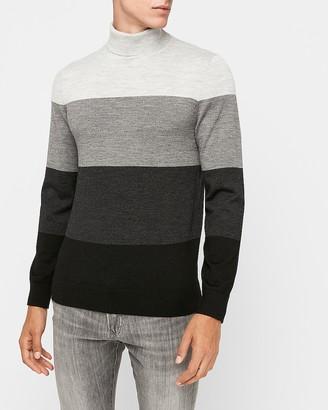Express Merino Wool-Blend Thermal-Regulating Striped Turtleneck Sweater