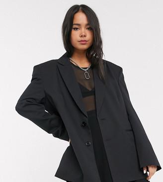 Collusion oversized dad blazer in black