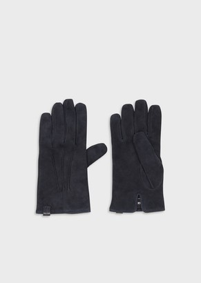 Giorgio Armani Lambskin Suede Gloves Cashmere Lining Made In Italy