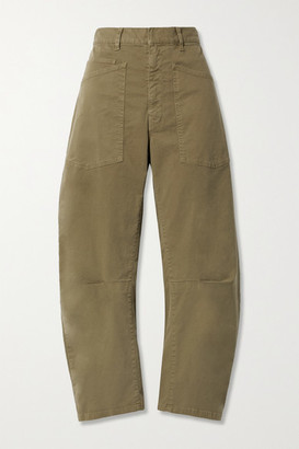 Nili Lotan Shon Cotton-blend Twill Tapered Pants - Army green