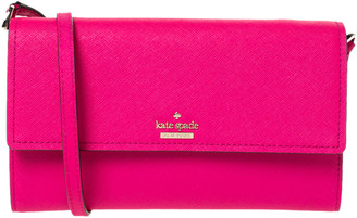 Kate Spade Magenta Leather Flap Continental Wallet Bag