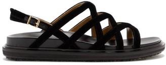 Marni V-strap Velvet Slingback Sandals - Black