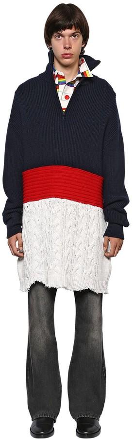 Balenciaga Oversized Wool & Cotton Blend Sweater