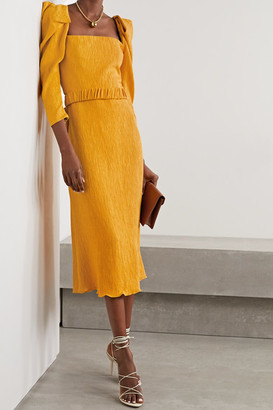 Johanna Ortiz Lotus And Beetle Belted Textured Woven Midi Dress - Yellow