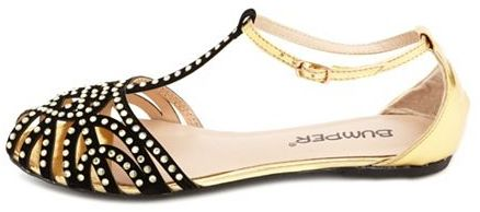 Charlotte Russe Caged Velvet Sparkle T-Strap Sandal
