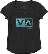 RVCA Juniors Washed Stripe Box Loose Fit Scoop Neck Graphic Tee