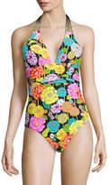 Trina Turk Santiago Ruched Plunge One-Piece Swimsuit