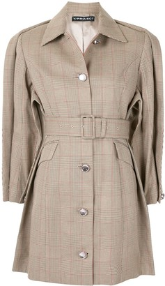 Y/Project Belted Check Pattern Trench Coat
