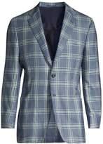 Kiton Windowpane Check Cashmere Sport Coat
