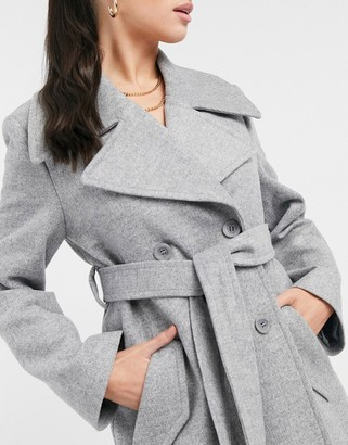 And other stories & belted double breasted wool jacket in grey