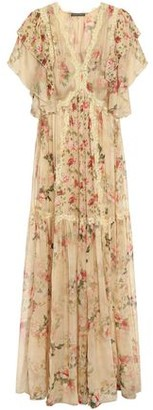 Alberta Ferretti Lace-trimmed Tiered Floral-print Silk-chiffon Maxi Dress