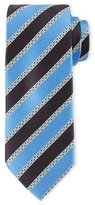 Ermenegildo Zegna Satin-Striped Silk Tie, Light Blue/Navy
