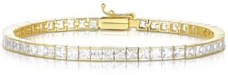 Sphera Milano 18K Yellow Gold Plated Sterling Silver Princess-Cut CZ Tennis Bracelet