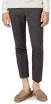 Topman Men's Skinny Fit Crop Tweed Trousers